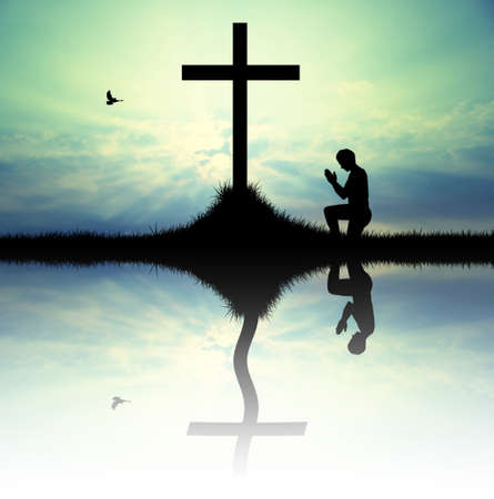 man prays