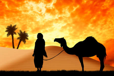 nomad: Bedouin with camel in the desert