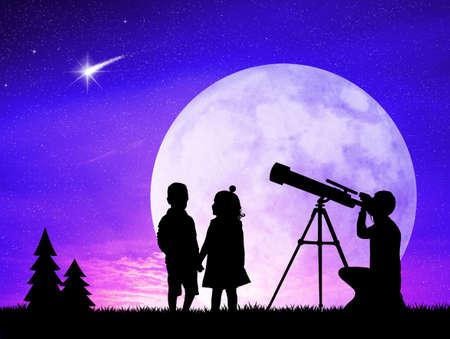 people look in the telescope photo