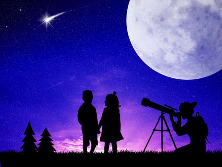 people look in the telescope photo