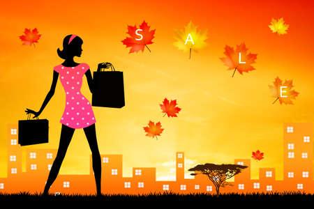 go shopping: woman go shopping in autumn Stock Photo