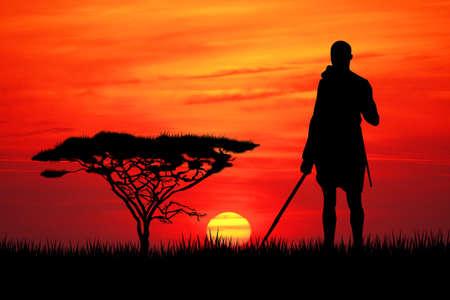 mara: Masai at sunset