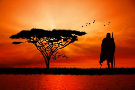 masai: African man at sunset