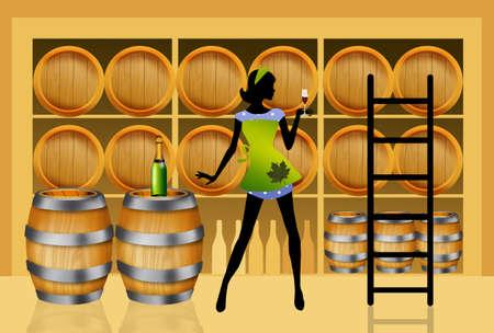 hogshead: Wine cellarls Stock Photo