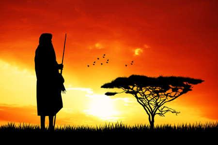 mara: Masai in African landscape