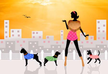 illustration of dog sitter Stock Illustration - 23677049