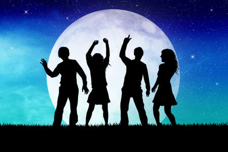 lunar phases: party in the moonlight Stock Photo