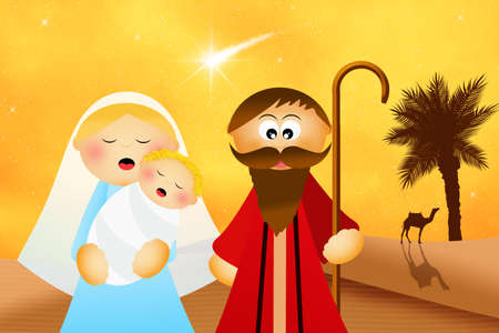 presepe: Christmas Nativity scene cartoon