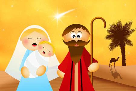 presepe: Christmas Nativity scene cartoon