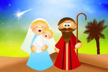 presepe: Nativity scene cartoon
