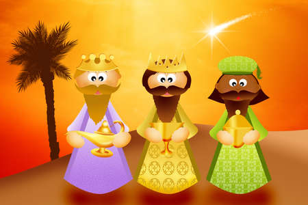 presepe: Three wise men cartoon