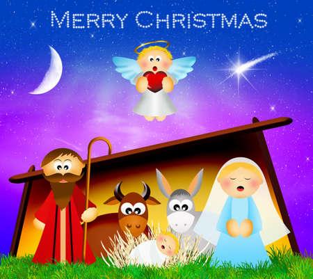 presepe: illustration of Christmas Nativity scene