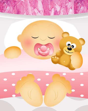 sleeping child with teddy bear photo