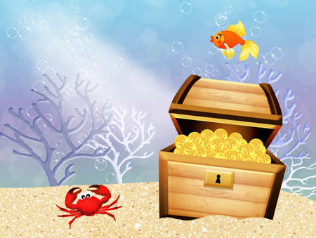 treasure chest in the sea photo