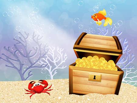 treasure chest in the sea