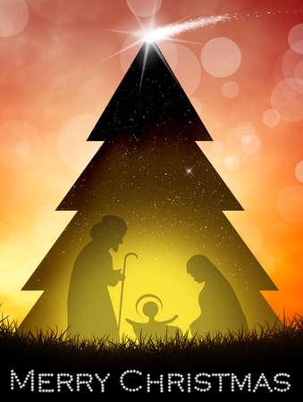 nascita di gesu: Presepe nella struttura ad albero di Natale