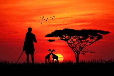 夕暮れ時の先住民 写真素材
