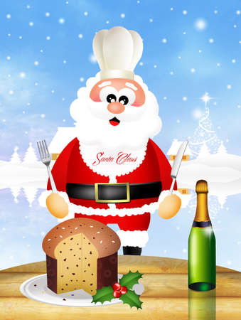 Santa Claus eating panettone photo