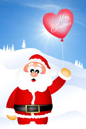 Santa Claus with heart balloon photo
