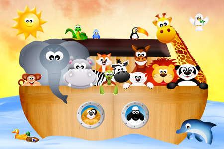 noah: animals on the ark of Noah Stock Photo
