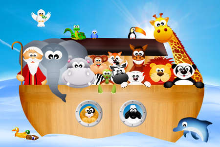 animals on the ark of Noah 版權商用圖片