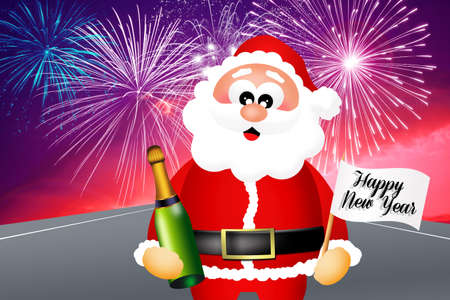 Santa Claus celebrating the New Year photo