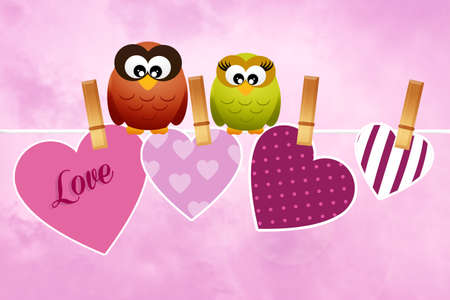 Owls in love for Valentines Day photo