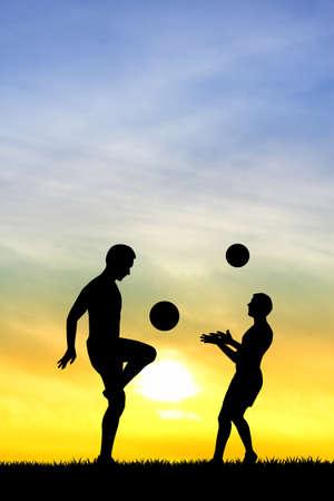 jugando futbol: hombres jugando al f�tbol Foto de archivo