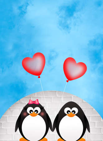 Penguins in love photo