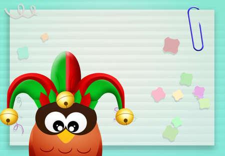 minstrel: owl with joker hat Stock Photo