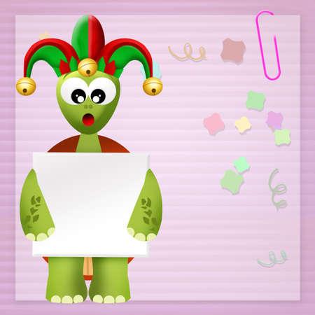 minstrel: turtle with joker hat Stock Photo