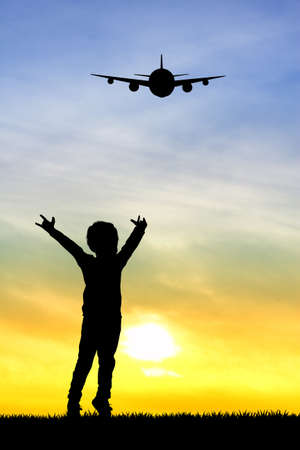 сooking: child looking the airplane