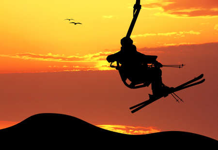 ski lift at sunset photo
