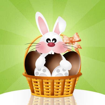 oeufs en chocolat: lapin avec des oeufs de chocolat