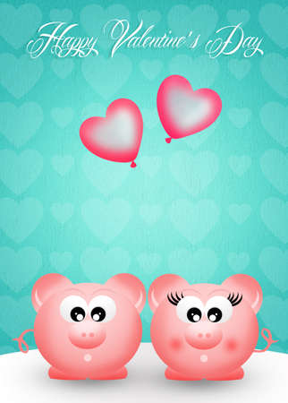 Pigs with heart balloons photo