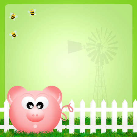 bee house: illustration of pig Stock Photo