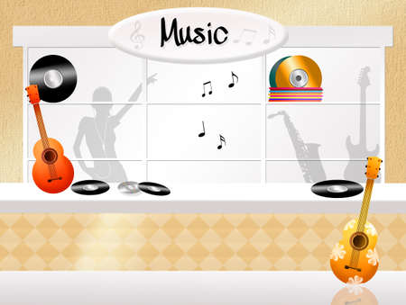 illustration of music store illustration
