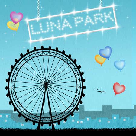 luna: illustration of luna park Stock Photo