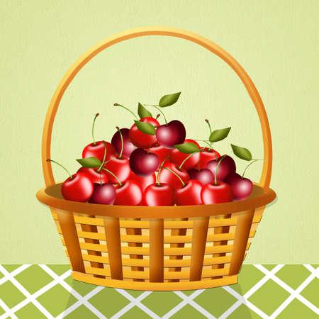 cherries in the basket photo