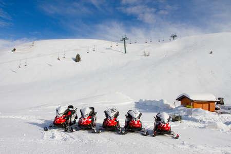 snowmobile rentals, Monte Campione Stock Photo - 26254636