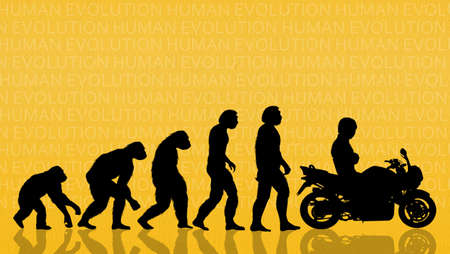 human evolution with motorcycle photo