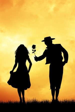 bailando flamenco: pareja bailando flamenco al atardecer