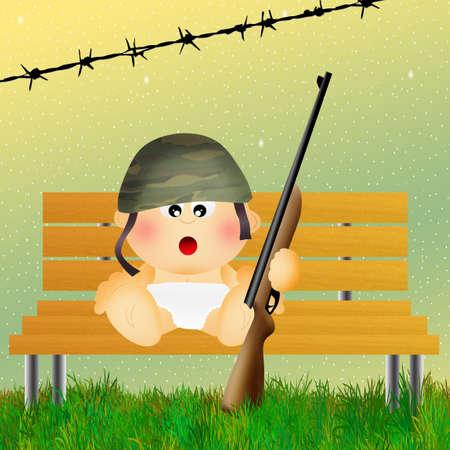 guerrilla: baby soldier Stock Photo