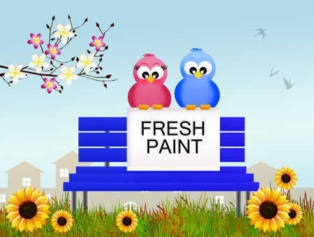 fresh paint on bench photo