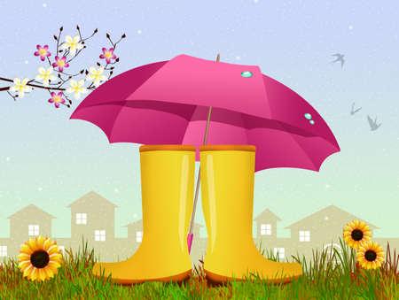 rain boots: rain boots and umbrella