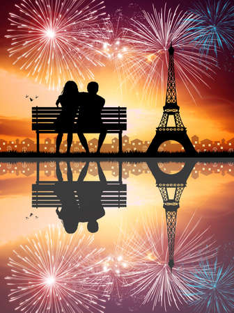 Couple in Paris photo