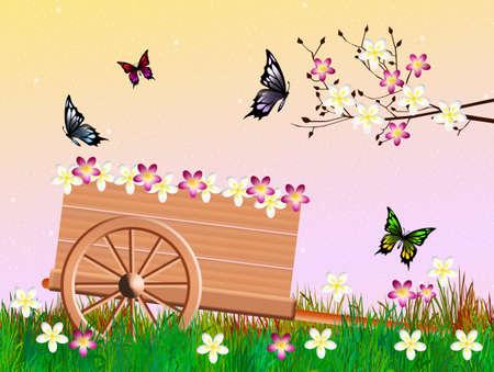handcart: handcart in summer