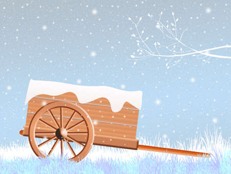 handcart: handcart in winter