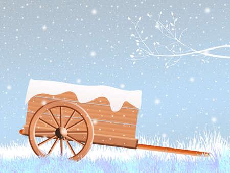 handcart: handcart in winter