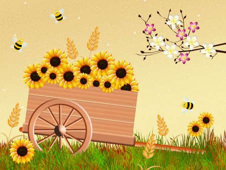 handcart: handcart in spring